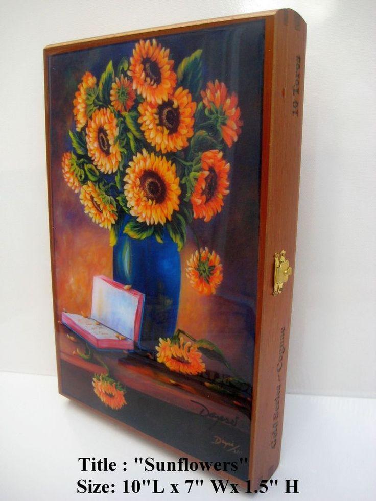 Art by Daysi. Cuban Artwork on Top Cigar boxes.100 % Handmade. Gift Ideas