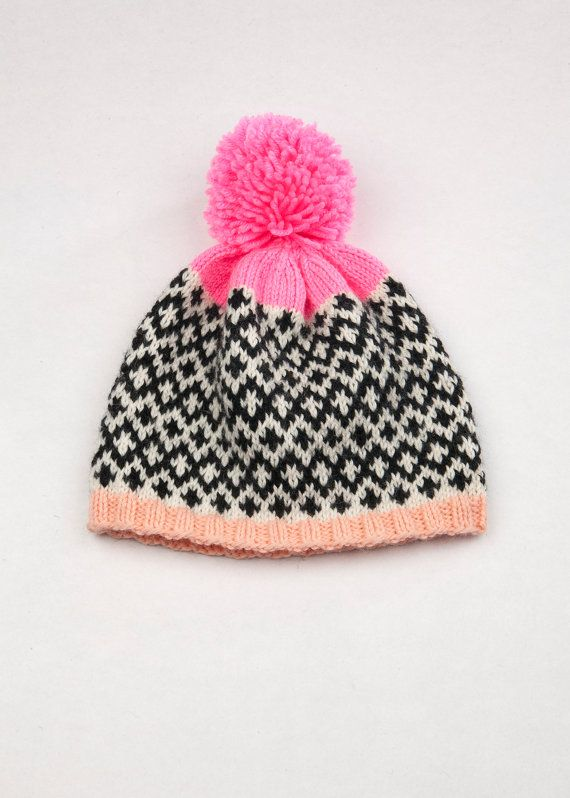 Patterned Pom Pom Beanie Fair Isle Diamonds by WhiteLodgeKnitwear