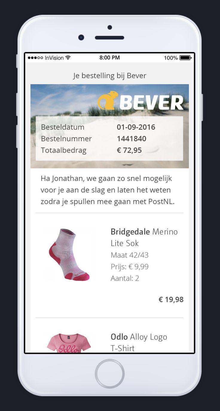 Ontwerp orderbevestigingsmail voor Bever