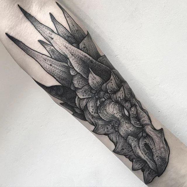 Black Tattoos by Parvick dragon head