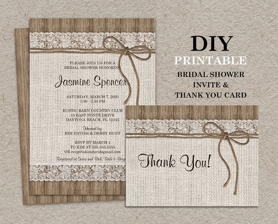 diy printable rustic bridal shower invitation set with thank you card by