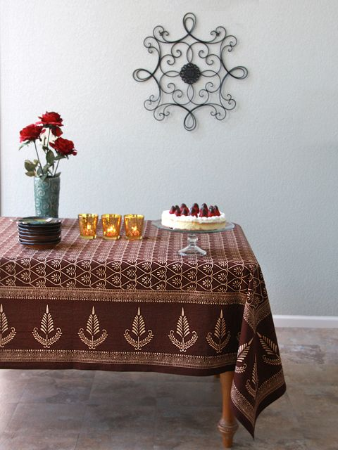 Dark Brown Elegant Romantic TABLECLOTH: Use Our Colorful Cotton Tablecloths  To Set The Mood You