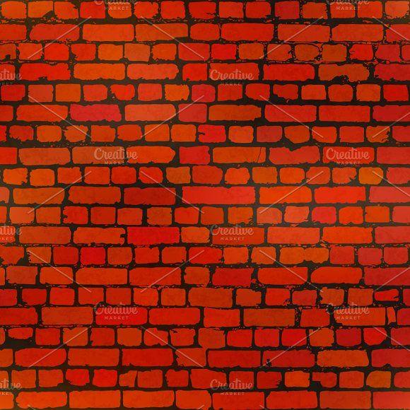 Realistic Red Grunge Bricks Pattern Brick Patterns Seamless Pattern Vector Grunge