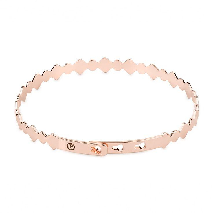 Polanska & Co. - Bransoletka gruba obręcz z kolcami różowe złoto #jewelery #metal #gold