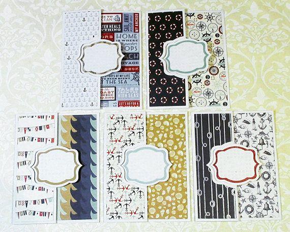 Nautical Style Flip Cards Set of 5 with matching envelopes