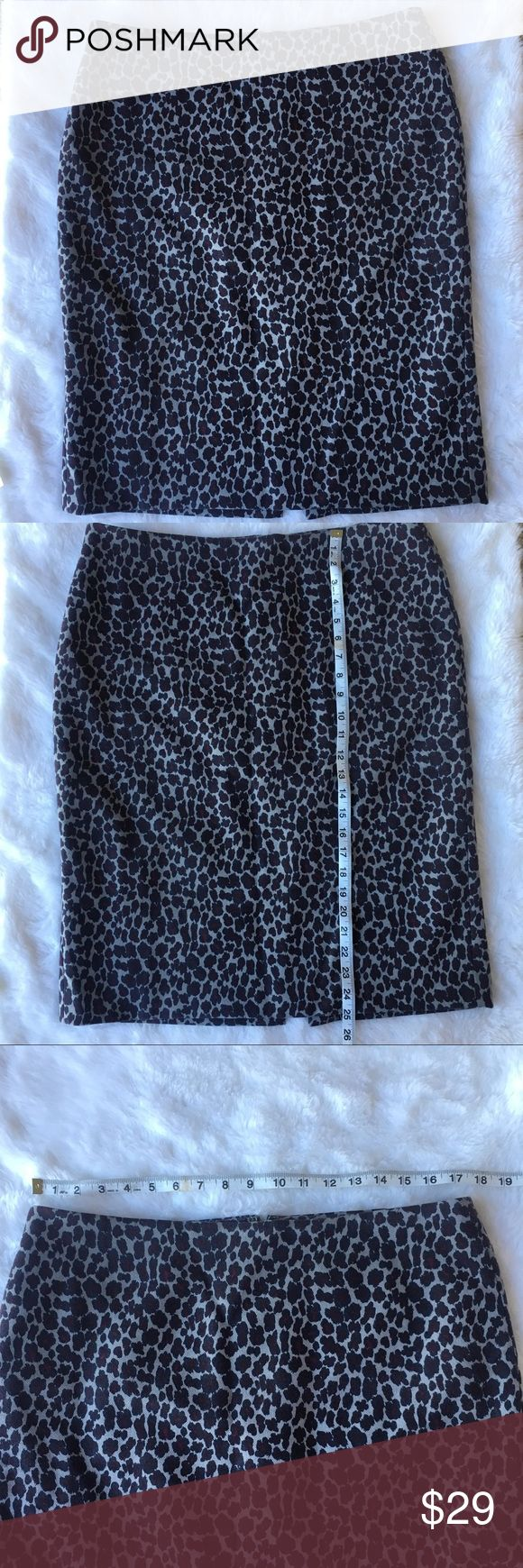Talbots Ocelot Print Purple Pencil Skirt 14 Talbots pencil skirt in size 14. Leopard/ocelot/animal print. Zipper back and slit in back. Double lined. Measurements are in photos. Looks sleek with a blouse and blazer! Please see photos for measurements. Everything comes from a pet and smoke free home. Preowned- no rips or stains. Talbots Skirts Pencil