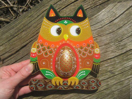 Животные ручной работы. Ярмарка Мастеров - ручная работа. Купить Панно-оберег Золотое яйцо  Роспись по дереву. Handmade.