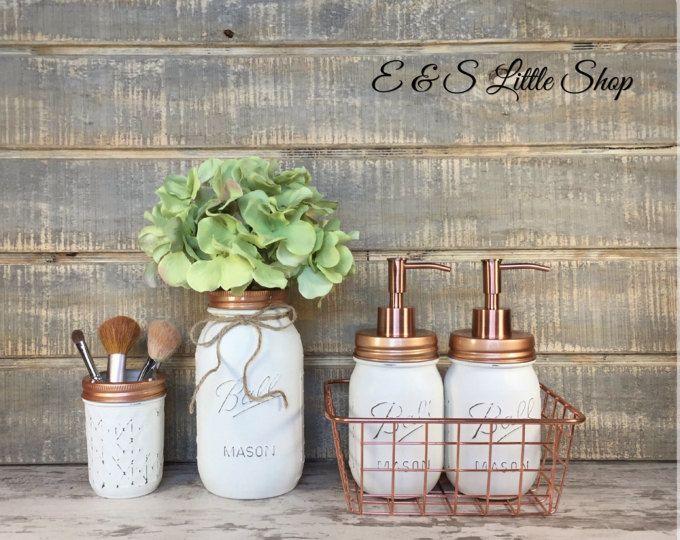 Mason Jar Farmhouse Bathroom Set Shabby Chic Bathroom Set Copper