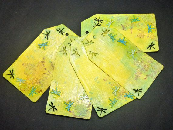 5pcs dragonfly cardstock colored handmade by AzraelWest on Etsy