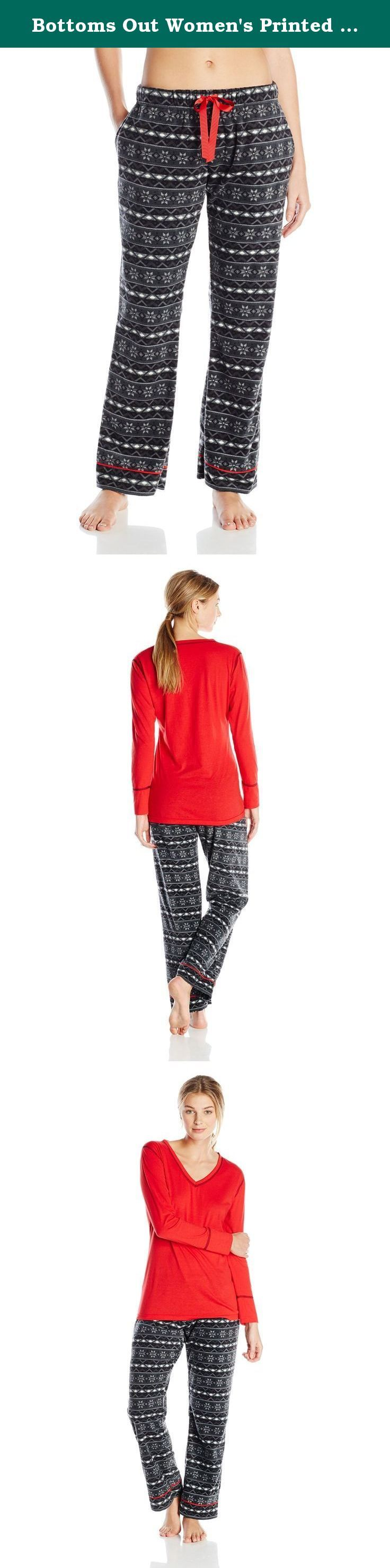 Bottoms Out Women's Printed Ladies Microfleece Pajama Set, Black/Charcoal, X-Large. Ladies pajama set with knit V-neck top and micro fleece pants.