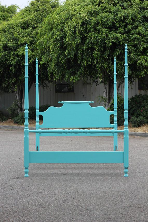Turquoise Four Poster Double Bed by othersisterdesign on Etsy, $375.00--I love this bed!