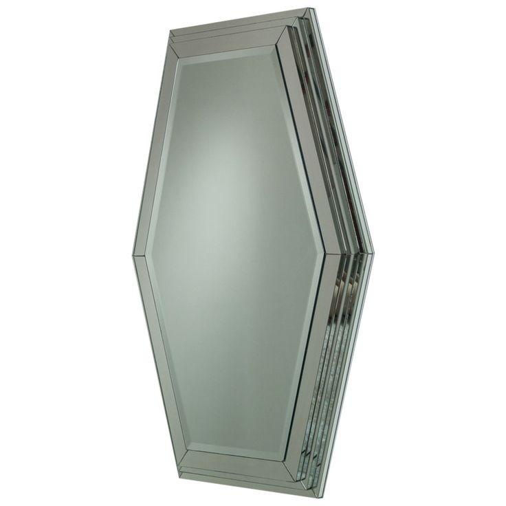 Large Art Deco Style Step Framed Bevelled Mirror, 1970s