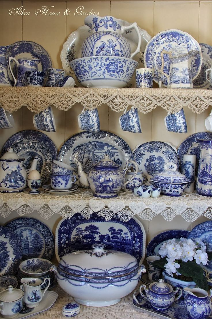Aiken House & Gardens: Blue & White Transferware Cupboard