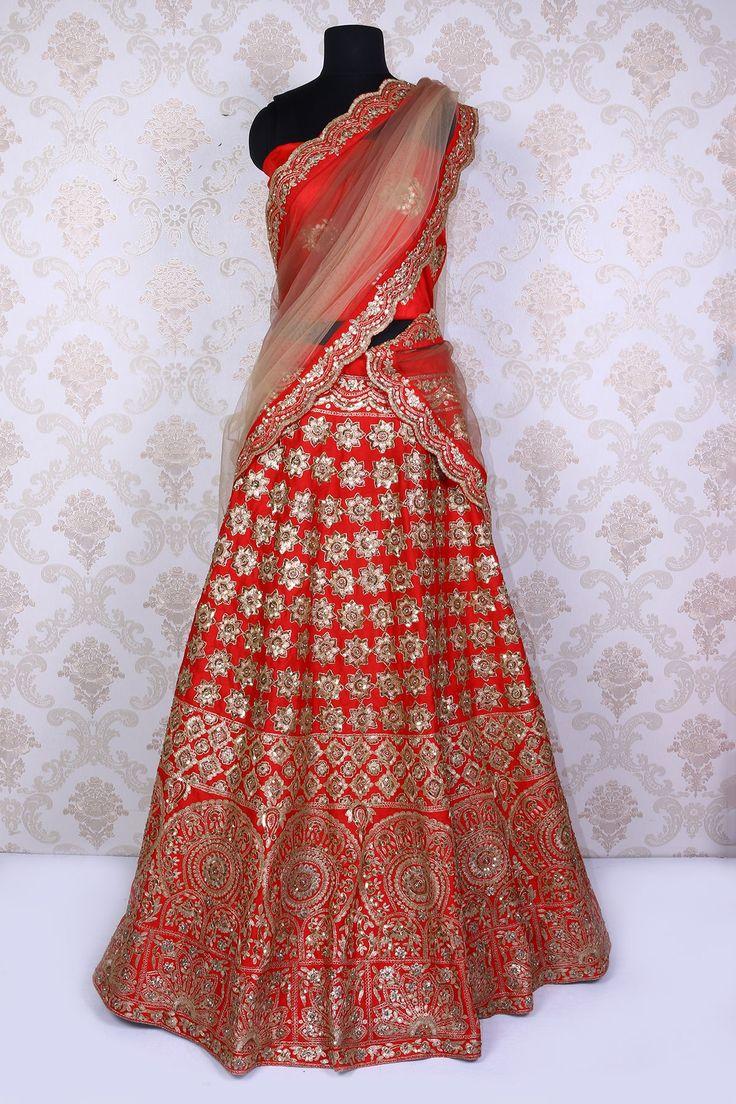 #Red pure #silk stylish #lehengacholi with #zari & kundan work -GC574