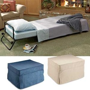 Tiny multi-purpose room seeks small furniture that will convert to two twin beds! Fold-out ottoman, fold-up ottoman, ottoman sleeper. All the different terms making it hard for me to find what I'm looking for: a set of two ottomans that open to become twin beds -- or an ottoman and chair, each of which can become a twin sleeper. Why is this so hard?
