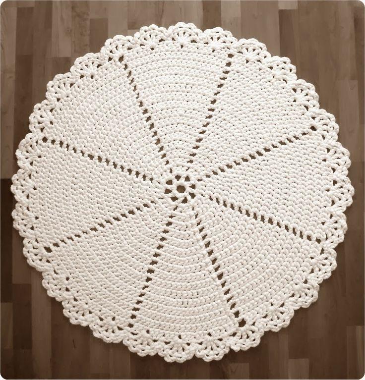 Pirjon kädenjälkiä: Virkattu matto / Lace Rug... Free pattern for making this lace edged rug!! The English translation is further down!!