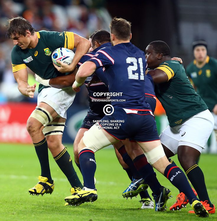 London England October 07 Eben Etzebeth Of South Africa Charging Forward During The Rugby World Cup 2015 Pool B Rugby World Cup Eben Etzebeth United States