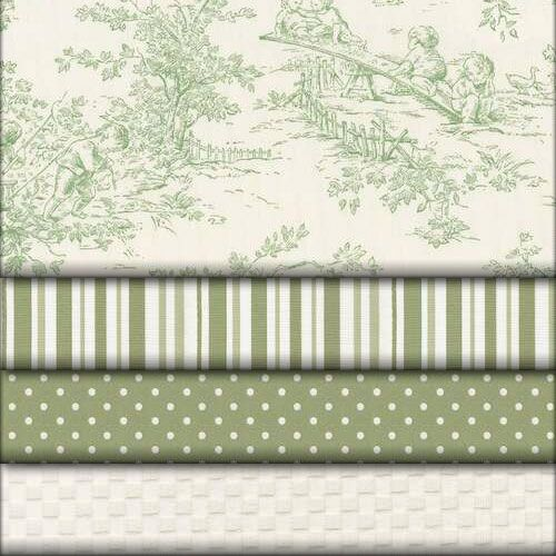 Love the dot and strip...toile would be nice but is for baby room....