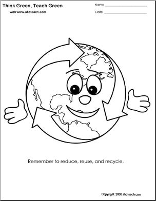 Cute Earth coloring pages to use with Earth Day and recycling.