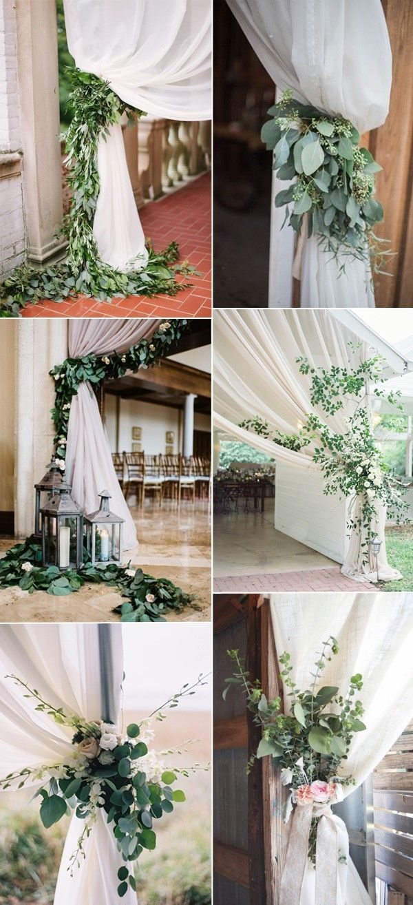 pretty greenery wedding curtain ties ideas