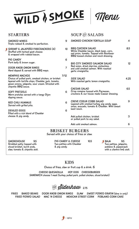 First page of the menu for WildSmoke Smokehouse & Bar in St. Louis, MO! #WildSmoke #smokehouse #bar #StLouis #STL #SaintLouis #BBQ #CreveCoeur