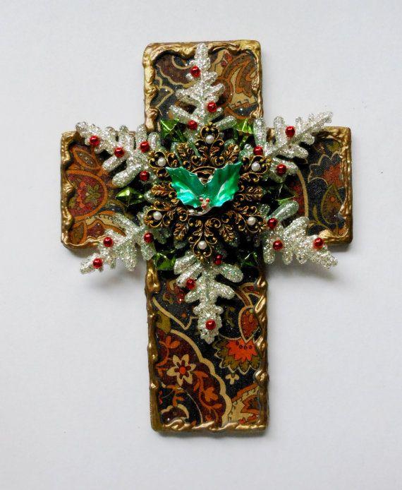 CHRISTMAS CROSS OOAK mixed media found by CrossMyArtByLynnWebb, $30.00