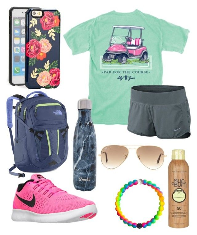 """Zoo outfit"" by jadenriley21 on Polyvore featuring Sun Bum, NIKE, Sonix, S'well, The North Face and Ray-Ban"
