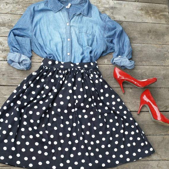 Handmade Black and White Polka Dot Skirt with Back Zipper- Retro Style Rockabilly Midi Skirt -Size Small