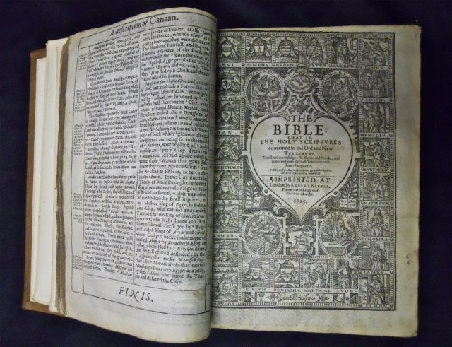 1615 Breeches Pilgrim Bible Robert Barker Printing, London