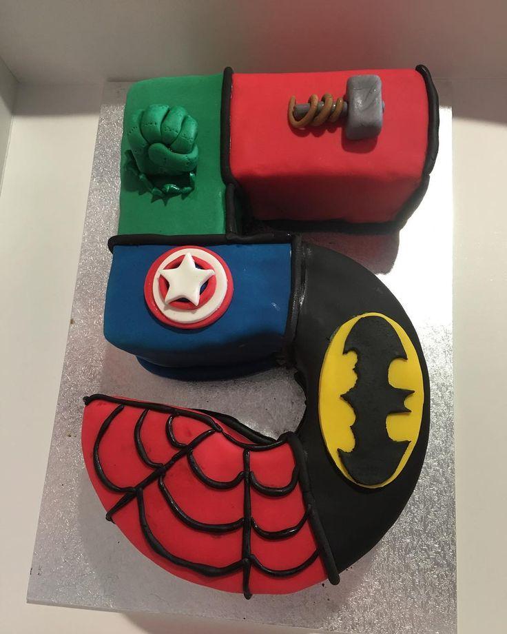 Superhero themed cake. 😍 ➖➖➖  #katescakesnewcastle #superherocake #hulkcake #number5cake #spiderman #thor #captainamerica #batman #cake #fondant #chocolatemudcake