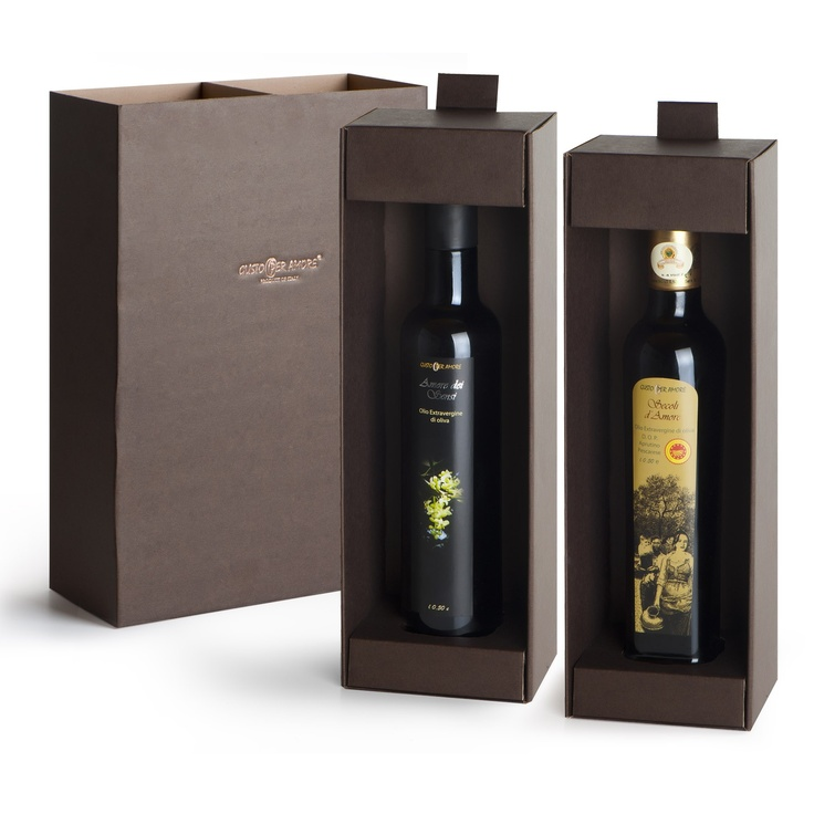 "$33.20 - Oil gift set ""Elite"" - Selection containing: ▫ 1 bottle of extra virgin oliveoil 100% italian ""Amore dei Sensi"" 0,50 L. #Typical of #Abruzzo, fruitage is mild, bitter and spicy are perfectly balanced. Great for fish, cheeses made with cow's milk and salads. ▫ 1 bottle of extra virgin oliveoil PDO (DOP) ""Secoli D'Amore"" 0,50 L. A Superb oil typical of Abruzzo .Flavorful, bitter and spicy are well perceptible. Ideal for grilling meat, goat and sheep cheeses, fish soups and legumes…"