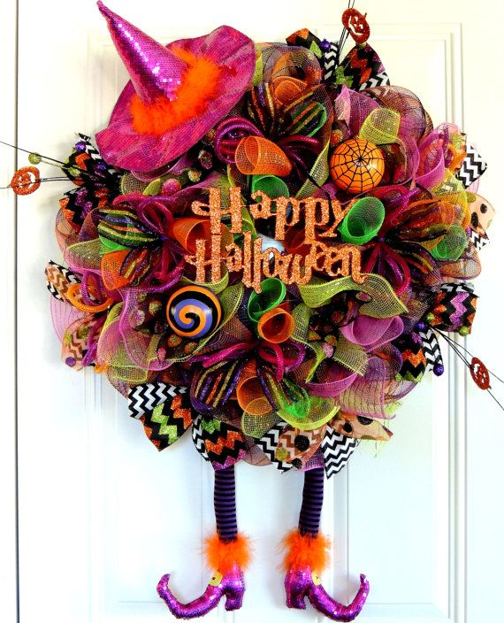 2 Left Halloween Witch Wreath Wicked Witch Wreath Happy Halloween Mesh Wreath RAZ Hat Legs Boots Deco Mesh wreath Whimsical Fall wreath