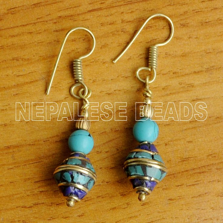 Do It Yourself Jewelry: DIYA28 Lapis Turquoise Brass Do It Yourself Earrings Tibet