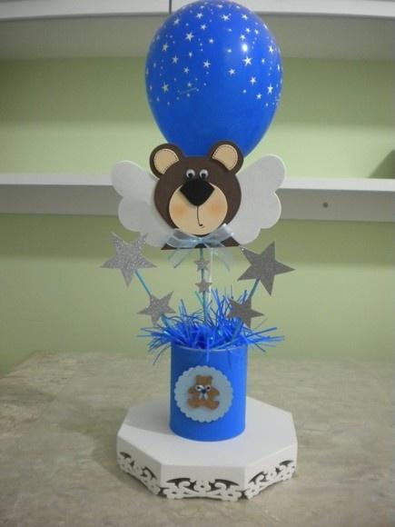 Ursinho em EVA, com detalhes em scrap, EVA com glitter, balão colorido,fita…