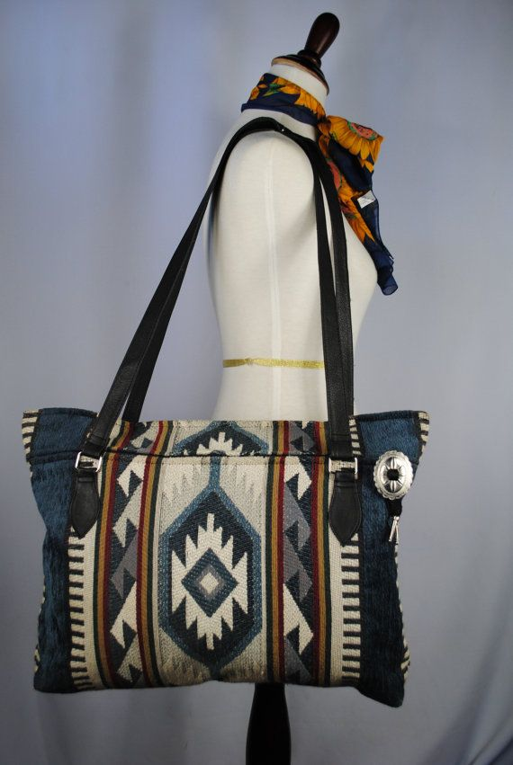 Vintage SOUTHWESTERN Tapestry TOTE with Black LEATHER Handles. on Etsy, $55.00