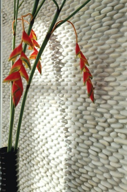 White Standing Pebble Tiles for Wall