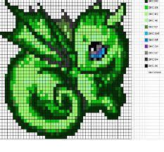 small dragon. cute chart. hama bead dragon pattern - Google Search