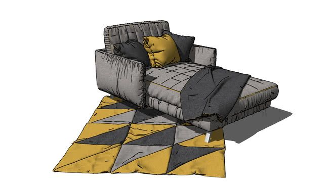 Large preview of 3D Model of gray_lounging_sofa-01