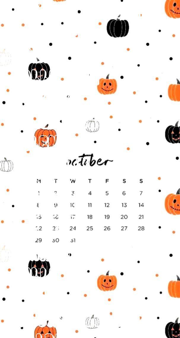 Halloween Wallpaper With Calendar For October 2020 octoberwallpaper #wallpapers #mobile2018 #halloween #4koctober