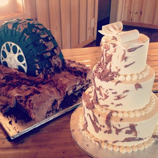 Tire Mud Splattered Wedding and Grooms Cake / 2tarts Bakery / New Braunfels, TX / www.2tarts.com