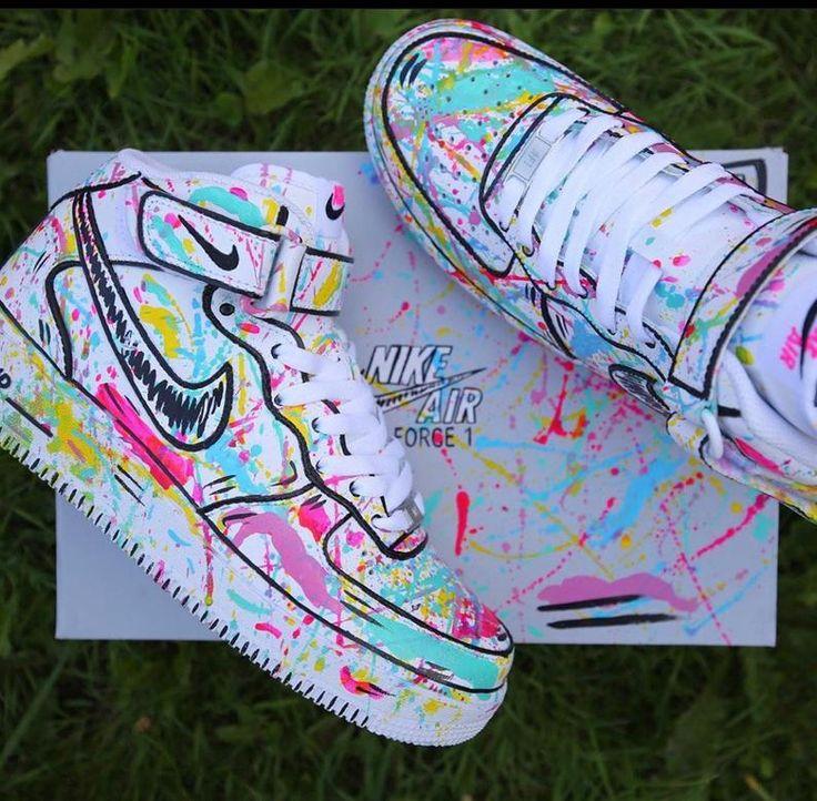 Nike Sneakers AF1 Air Force One High Mid Custom Lv2 Harlequin ...