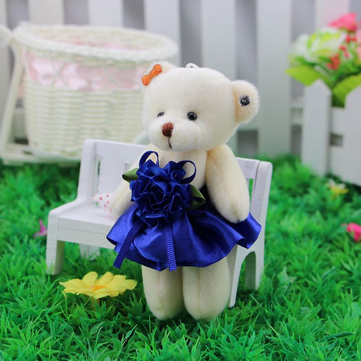 Stunning cartoon teddy bear joint bear doll with diamond wedding gifts wholesale packaging materials