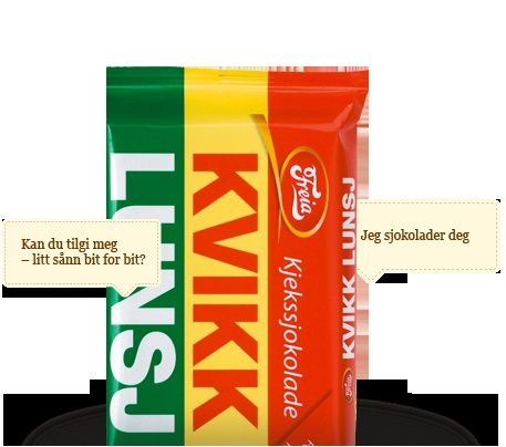 I loved this chocolate when I was little and I still do to this day :D It is like a Kit kat but better. If you wanna know how to pronounce it, it is '' Kv-ikk Lunch''. But it is written '' Kvikk lunsj''