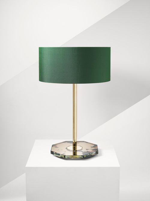 Studio Peascod: verre églomisé Coronet table lamp in Emerald Magma from £1600