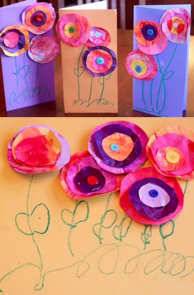 Mother's Day Craft for Kids to Make: painted paper flower cards