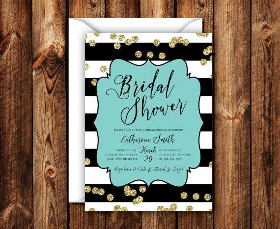 Elegant Modern Rustic Turquoise Gold Black & White Stripe Bridal Shower Wedding Shower Invitation 5x7 Digital File or Printed Invites