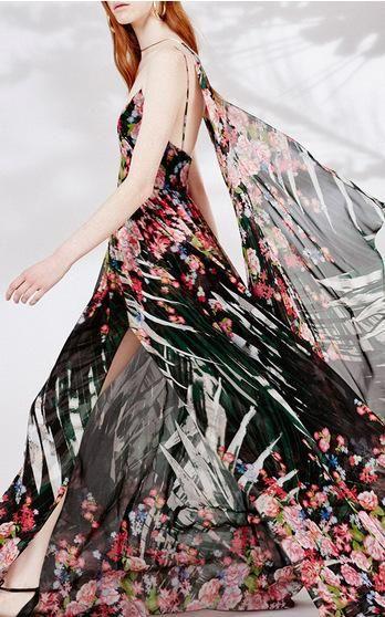 Elie Saab palm printed crepe georgette gown via @modaoperandi