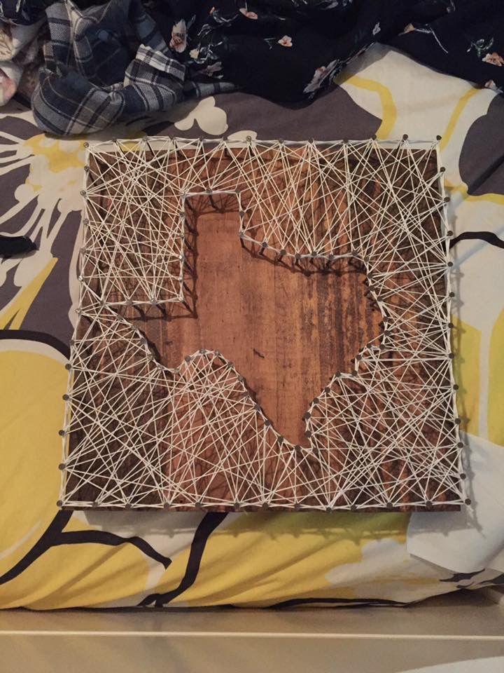Wooden sign, Texas string art