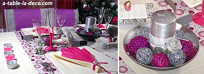 Table de Noël : centre de table fuchsia et argent pailleté - http://www.a-table-la-deco.com/les-fetes-du-moment/noel-fuchsia-argent-et-prune.html #table #noel #deco #decoration