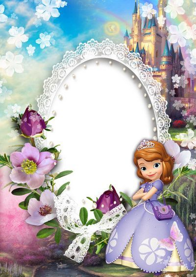 Photo Frame Template PSD + PNG format for children's photos with Princess Sofia